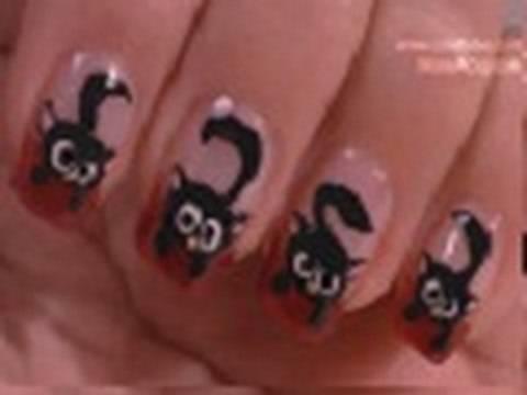 Black Cat Nail Art Tutorial / Arte para las uñas  de gato negro