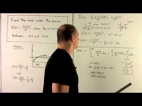 Area under f(x) = ln(x)/x