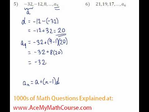 Arithmetic Sequences - Finding the Given Term #5-6