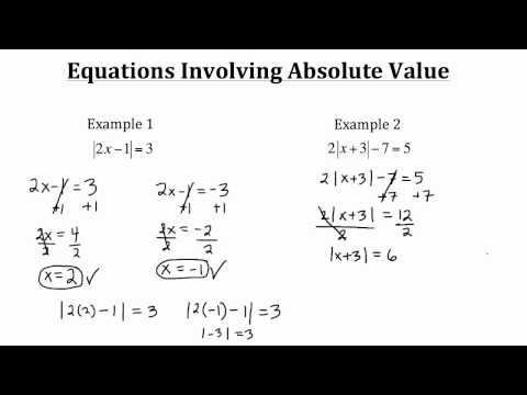 Equations Involving Absolute Value PT 1