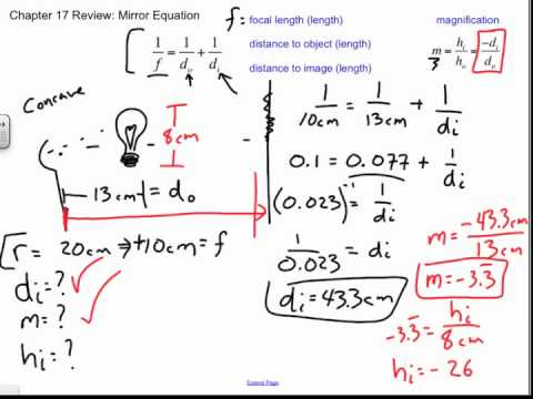 Mirror Equation Sample Problems, Chapter 17 Review