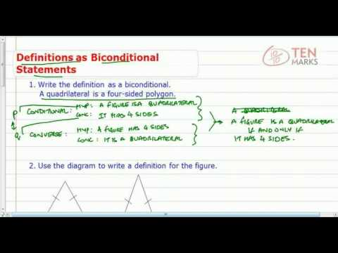 Write Definitions as Biconditional Statements