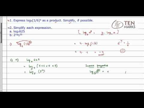 Simplification of Logarithms