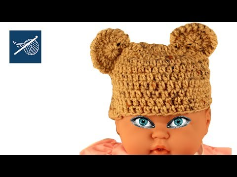 Crochet Cap with Bear Ears - Small Infant - Left Hand Version