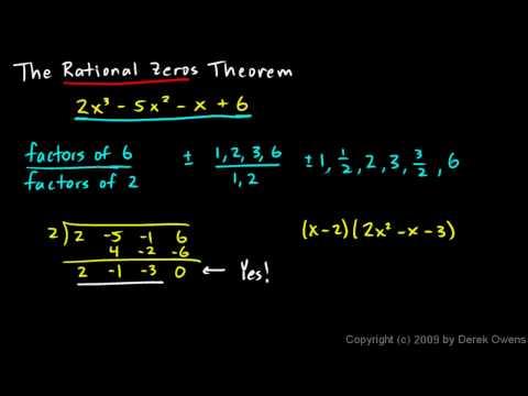 Algebra 2  6.07a - The Rational Zeros Theorem, Part 1