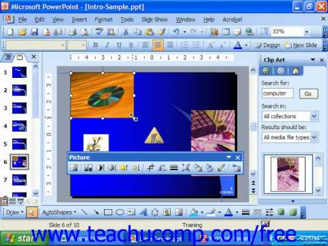 PowerPoint 2003 Tutorial Resizing Clip Art Microsoft Training Lesson 9.2