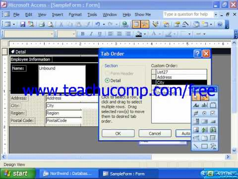 Access 2003 Tutorial Setting Tab Order Microsoft Training Lesson 12.8