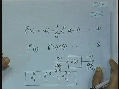 Lecture - 13 Lattice Formulation of LPC Coefficient