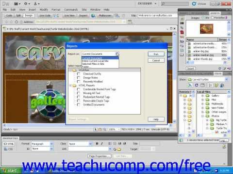 Dreamweaver CS5 Tutorial Site Reports Adobe Training Lesson 12.4