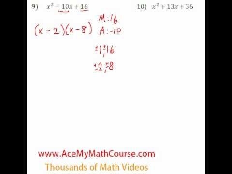 Polynomials - Factoring Trinomials #9-10