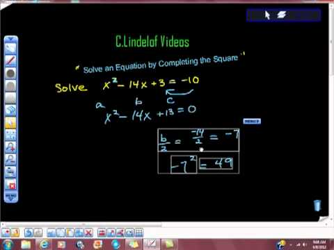 Algebra a Quadratic Solve By Completing the Square