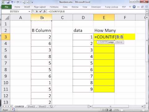 Excel Magic Trick 854: COUNTIF Function to Count How Many 1s or 2s or 3s There Are In Column