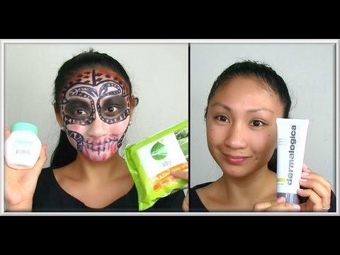 How to remove HALLOWEEN MAKEUP & treat skin! - AprilAthena7