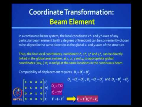Mod-05 Lec-27 Matrix Analysis of Beams and Grids