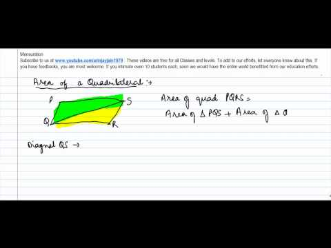 369.Class VIII   Area of a Quadrilateral   Derivation of Formulae