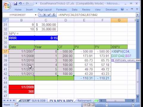 Excel Finance Trick #15: PV & NPV don't work: XNPV function