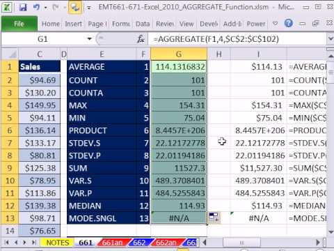 Excel 2010 Magic Trick 661: AGGREGATE function Contains 19 different functions