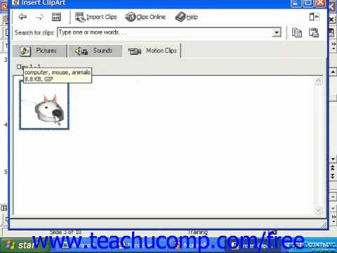 PowerPoint 2003 Tutorial Add Clips to Clip Art Gallery 2000&97 Microsoft Training Lesson 9.13