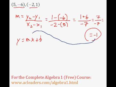 Linear Equations - Finding the Equation of a Line from Two Points Question #6