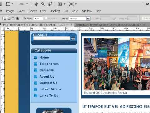 Create PSD Photoshop Template Links Bar Lesson 7