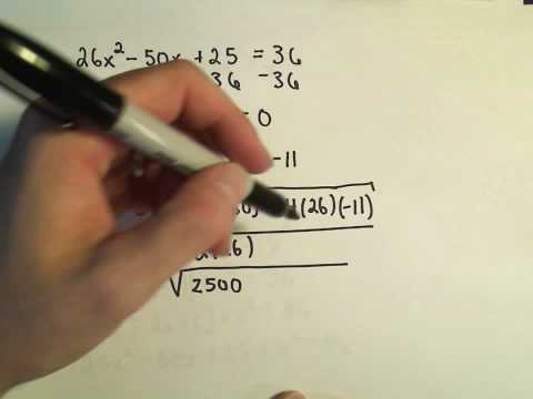 Solving for 'X' ;  Quadratic Equations Involving the Pythagorean Theorem - Example 1