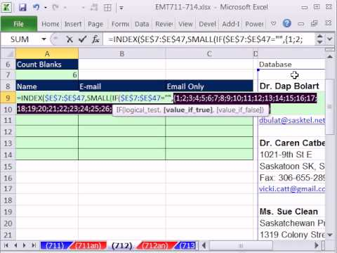 Excel Magic Trick 712: Formula To Take Data in Column and Make Proper Table For Name and E-mail