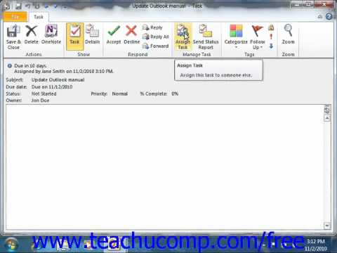 Outlook 2010 Tutorial Responding to Task Requests Microsoft Training Lesson 7.6