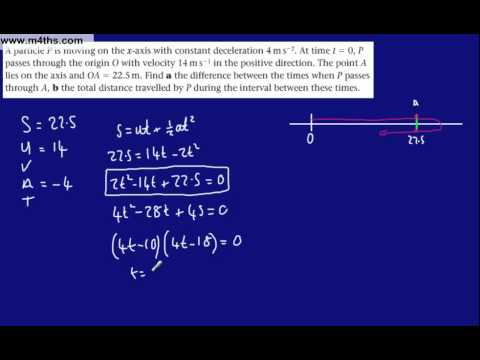 (e) M1 Constant Acceleration SUVAT Equations (harder example from Mechanics 1)