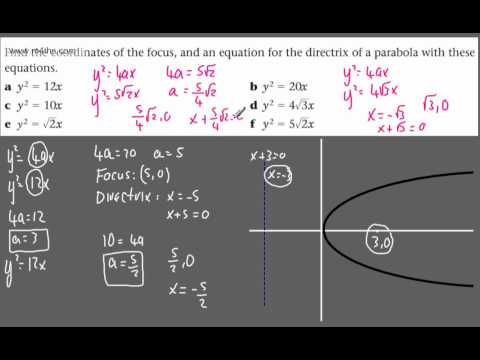 (2) FP1 - The Parabola (Finding focus, directrix & basic equations) - y^2 = 4ax (further pure maths)