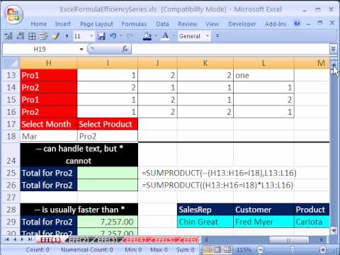 Excel Formula Efficiency 1: SUMPRODUCT function 12 Examples