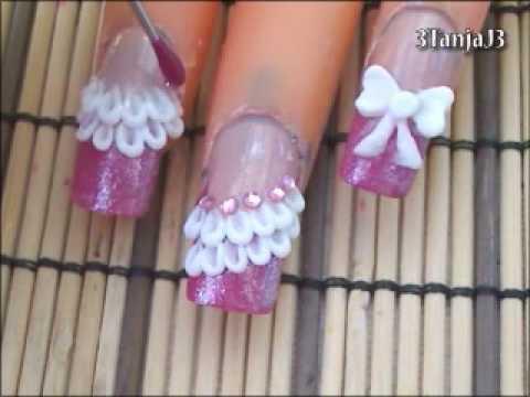 *Cute Bow & Lace* 3D Acrylic Nail Art Design Tutorial