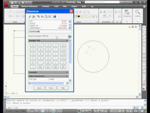 AutoCAD tutorial 2009 Quick Calculator