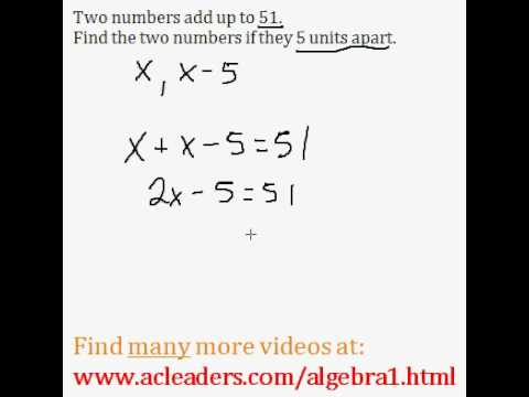 Word Problems (Algebra 1) - #1