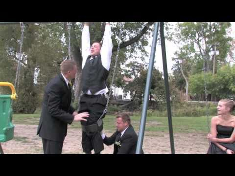 Groomsman Gets Stuck in Swing