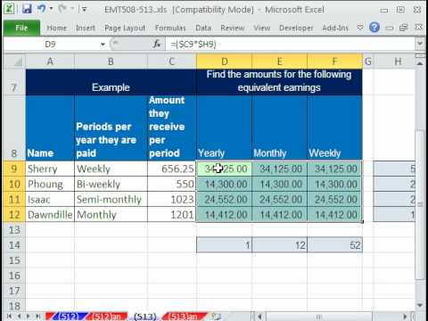 Excel Magic Trick 513: Equivalent Earnings Simple Formula