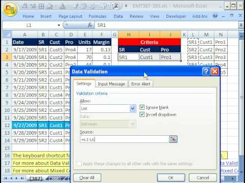 Excel Magic Trick 387: Data Validation Drop-Down List & Cell References