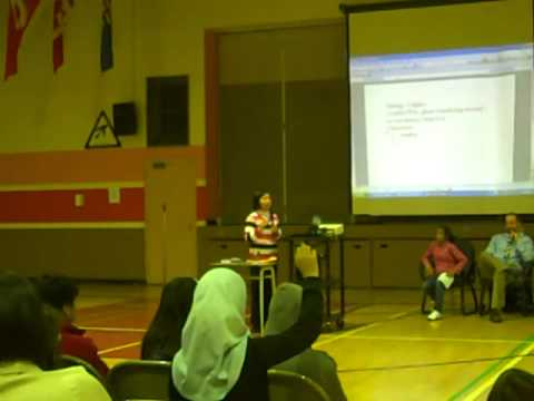 Adora giving a presentation in a school in Canada