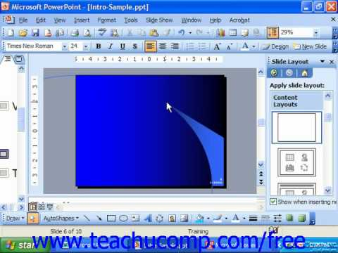 PowerPoint 2003 Tutorial Deleting Text Boxes & Placeholders Microsoft Training Lesson 6.5