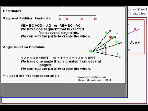 Properties, Postulates, and a Proof about adjacent angles