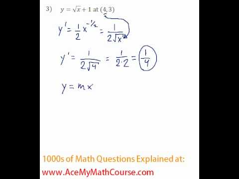 Derivative - Tangent Line Question #3