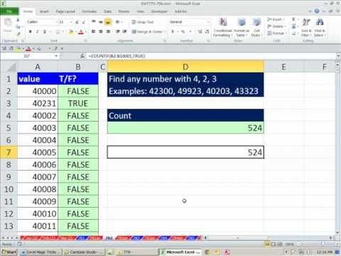 Excel Magic Trick 782: Find All Numbers With 4, 2, 3 ISNUMBER & SEARCH functions