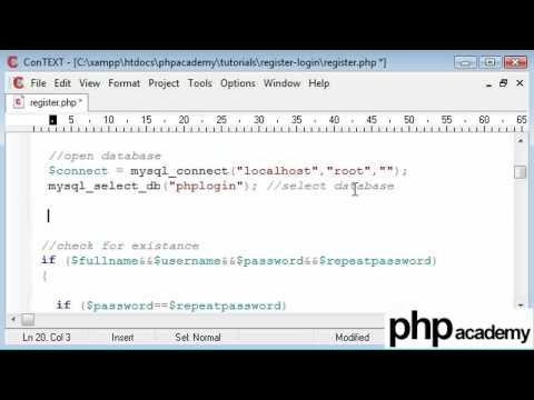 PHP Tutorials: Register & Login: User registration (Part 6)