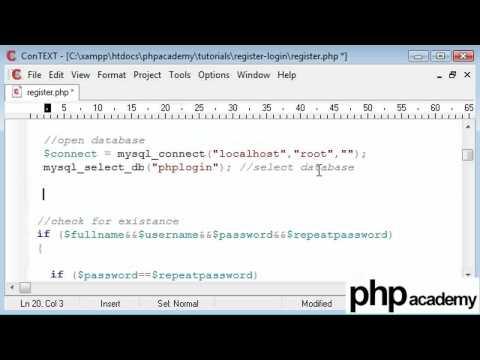 PHP Tutorials: Register & Login: User registration (Part 6)