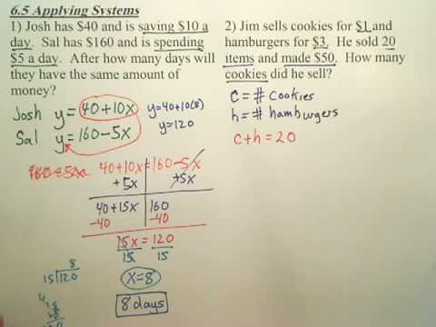 Algebra 1 - 6.5b Applying Systems
