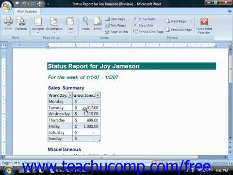 Word 2010 Tutorial Using Print Preview-2007 Microsoft Training Lesson 9.2