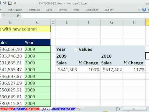 Excel Magic Trick 612: Pivot Table Year Over Year Sales Calculation From Dates Listed As Text