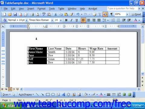 Word 2003 Tutorial Table Formulas Microsoft Office Training Lesson 18.1