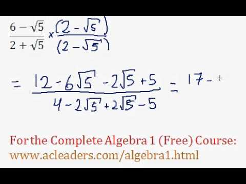 (Algebra 1) Radicals - Dividing Radicals & Rationalizing #12