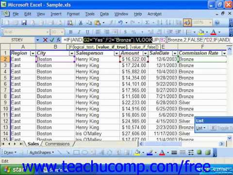 Excel 2003 Tutorial Using the AND and OR Functions Microsoft Training Lesson 30.6