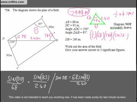 (Q20) A Star GCSE Revision Exam Style Questions (harder trig problem)